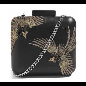 TopShop Embroidered Bird Leather Box Purse